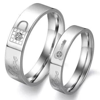 linda aliança anel de compromisso cadeado (par) frete grátis
