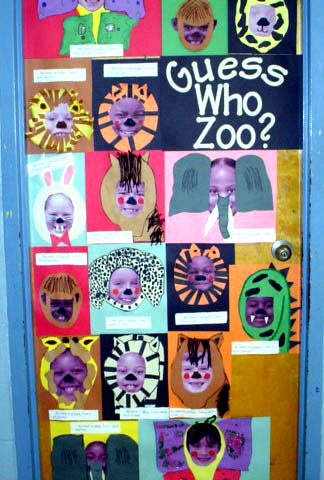 "Guessing Game Zoo Wall!  Have each child write a riddle  ending with ""Who Am I?""  Place the child's headshot in the cutout of the animal face (separate layer- don't glue).  When you lift the page (animal layer), you see the full picture of the child and his name"