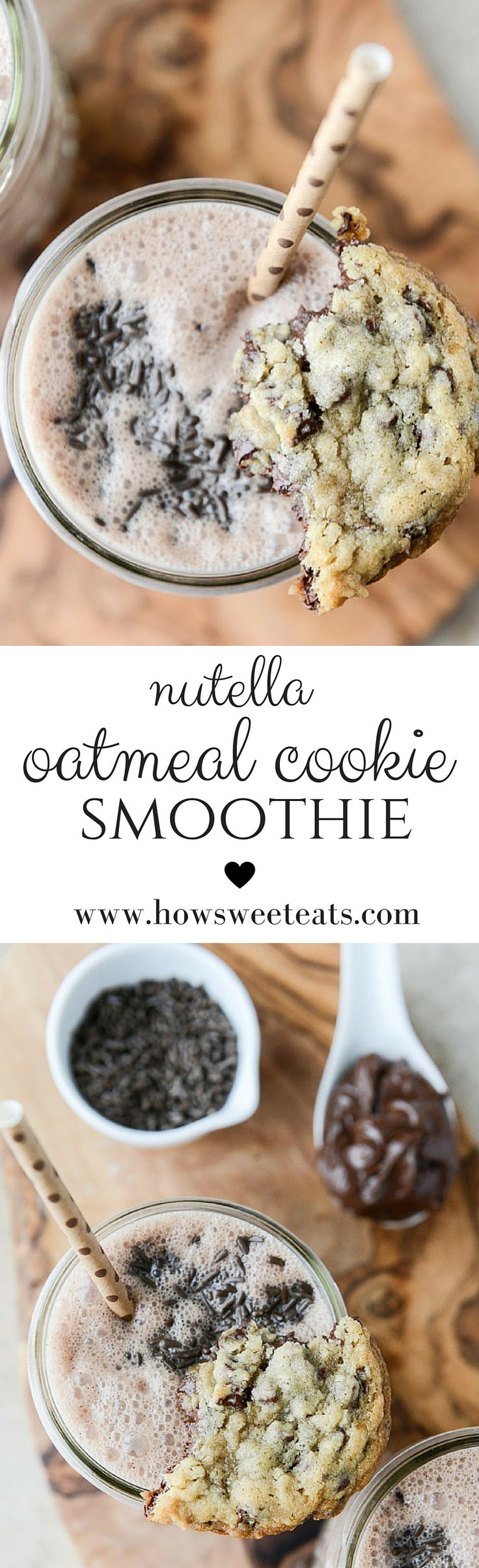 nutella oatmeal cookie smoothie I howsweeteats.com