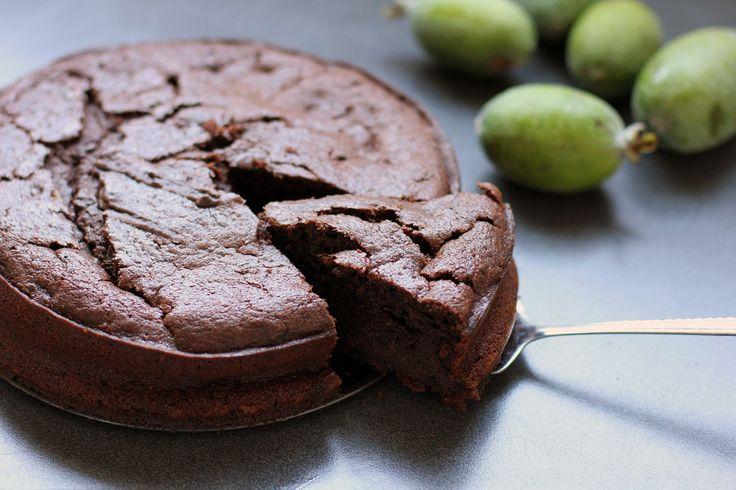 A #Kiwi cake with a chocolatey twist, Chocolate #Feijoa Cake