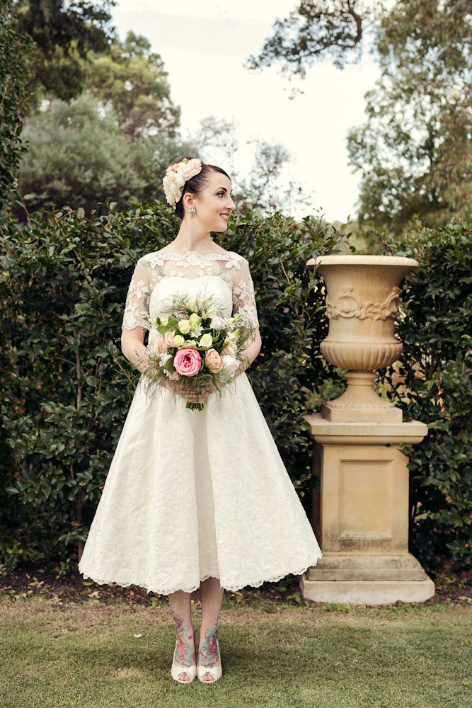 Jess S Tea Length Ivory Lace Wedding Dress Elvi Design Forever Pinterest And Dresses