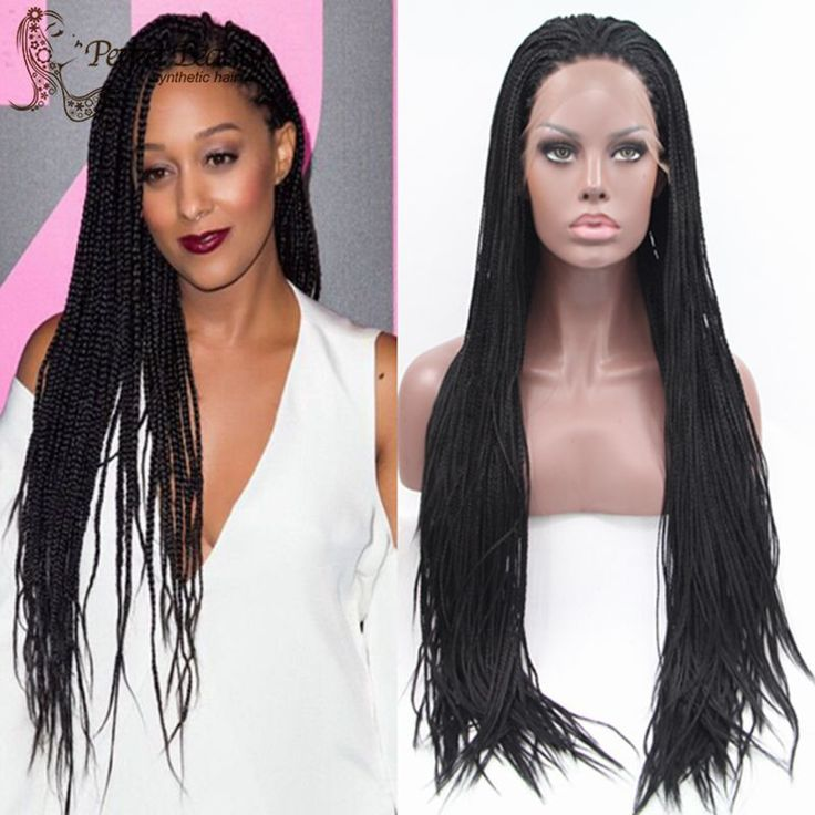 Long Black Wig Lace Box Braids Synthetic Wig Heat Resistant Micro Braided Wigs African American Hair Braiding Styles