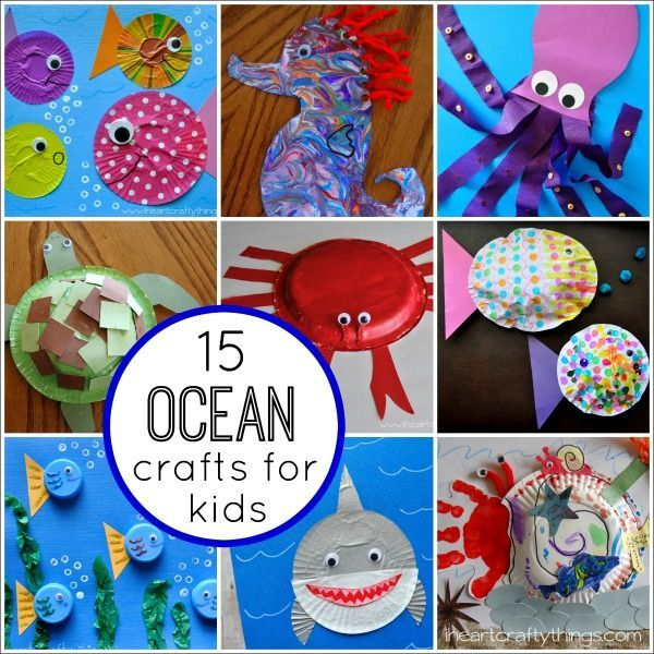Over the last few years we have enjoyed several   Ocean Themed Kids Crafts  at my house. I thought it would be fun to showcase my favorites in a round up to give you a great reference of fantastic and fun ideas for crafting with an ocean or fish theme. You'll find everything from a cute Octopus, Crabs, and a Shark...to groovy fish, a beautiful Seahorse and more.                           Get you...