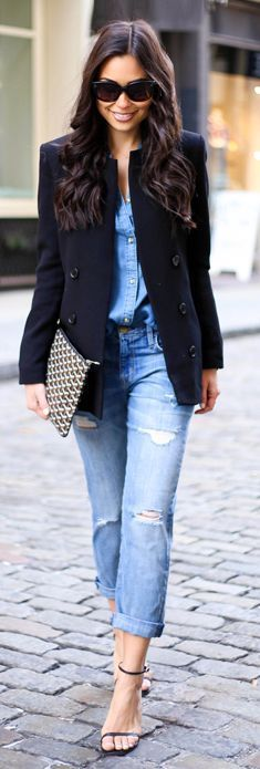 Urban Denim On Denim Outfit Idea by With Love From Kat