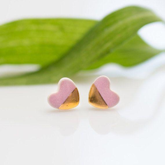 Pink stud earrings Pink heart stud earrings pastel jewelry Gold heart earrings Ceramic earrings for sensitive ears Sterling silver post 24k