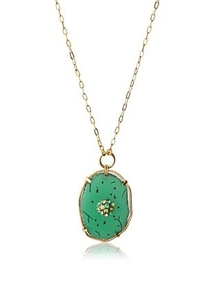 35% OFF T Tahari Oval Pendant Necklace (Green)