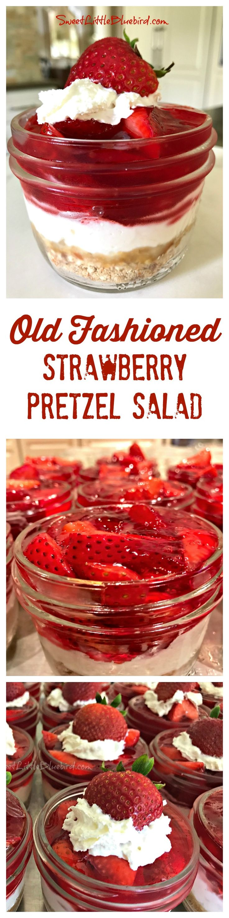 OLD FASHIONED STRAWBERRY PRETZEL SALAD -  A nostalgic dessert enjoyed since the 1960s, served any time of year   for the holidays, potlucks, parties. Sweet and salty, strawberry, cheesecake-y perfection. This light and irresistible, easy to make dessert, is made in a pan and cut into squares. For an even prettier presentation, it can be served individually in small mason jars.