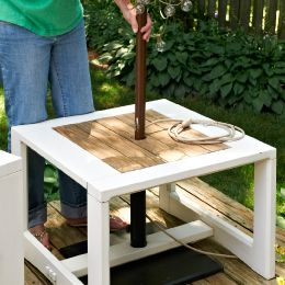 Make A Side Table Umbrella Stand A Freestanding Umbrella