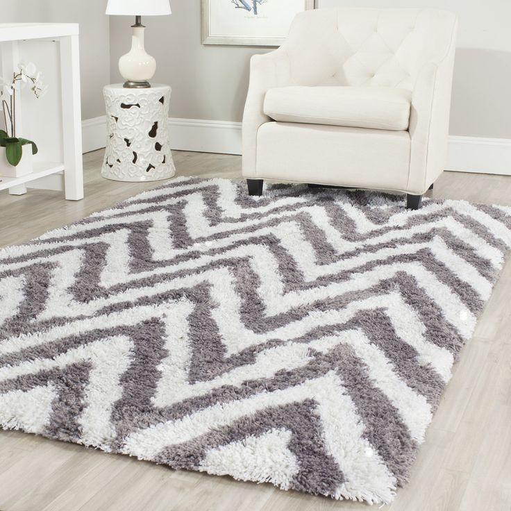 safavieh handmade chevron ivory grey shag rug 8u0027 x 10u0027 by safavieh - Grey Shag Rug