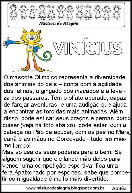 JOGOS OLÍMPICOS 2016, ATIVIDADES PEDAGÓGICAS, MASCOTES, IMPRIMIR, COLORIR-Mistura de Alegria                                                                                                                                                      Mais