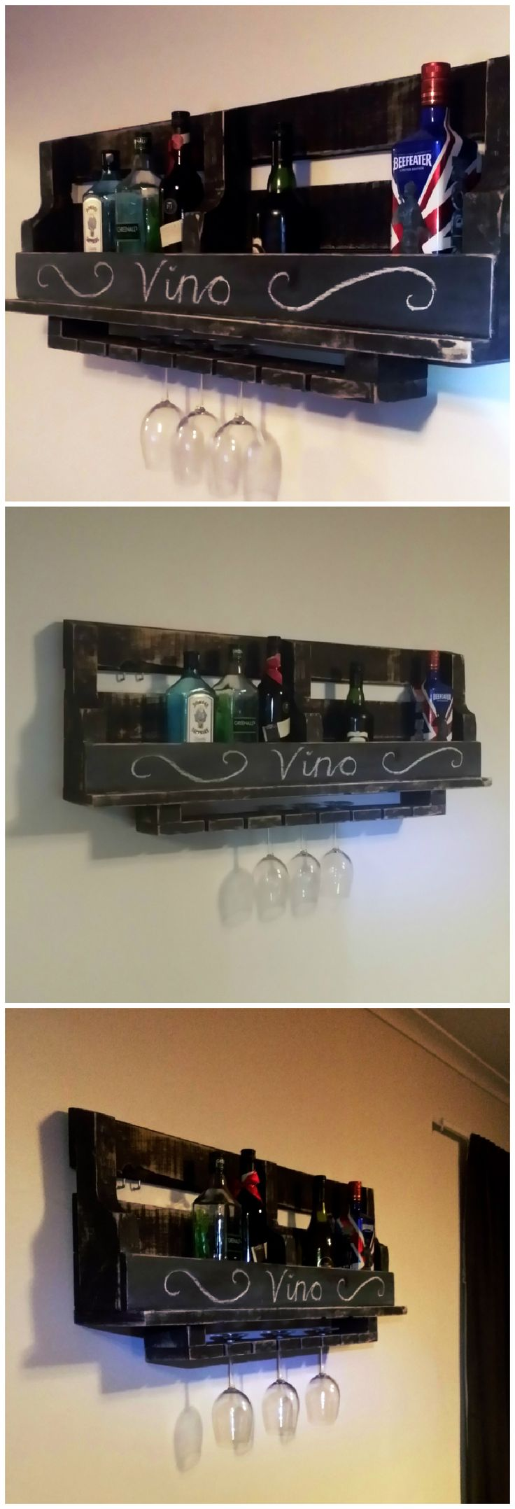 Rustic Wine Rack. I stained it black then sanded it back. I used chalkboard paint on the front so it can be easily personalized. Sanding it really gave it an awesome look