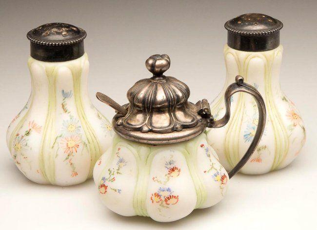 antique mount washington.glass | antique mt washington condiment sets | MT. WASHINGTON / PAIRPOINT SIX ...