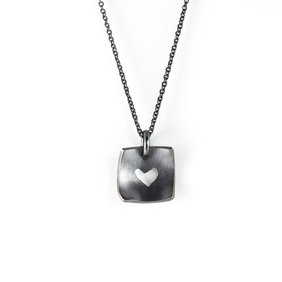 Cutout Heart Pendant oxidised sterling silver
