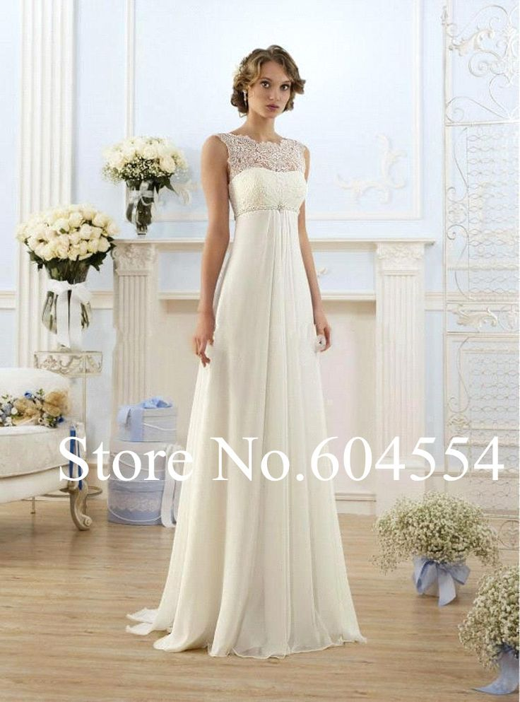 2017 Stock Vestido De Noiva White/Ivory Chiffon Beading Lace Beach Wedding Dress Sweep Train Bridal Gown