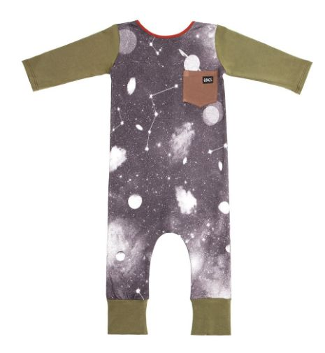 Rags to Raches 3/4 Sleeve Pocket Romper in Space