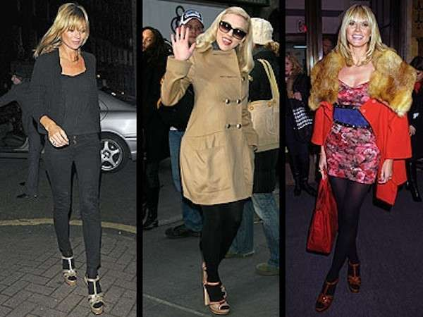 Come indossare le scarpe open toe in inverno - Scarpe open toe con calze per Kate Moss, Scarlett Johansson e Heidi Klum