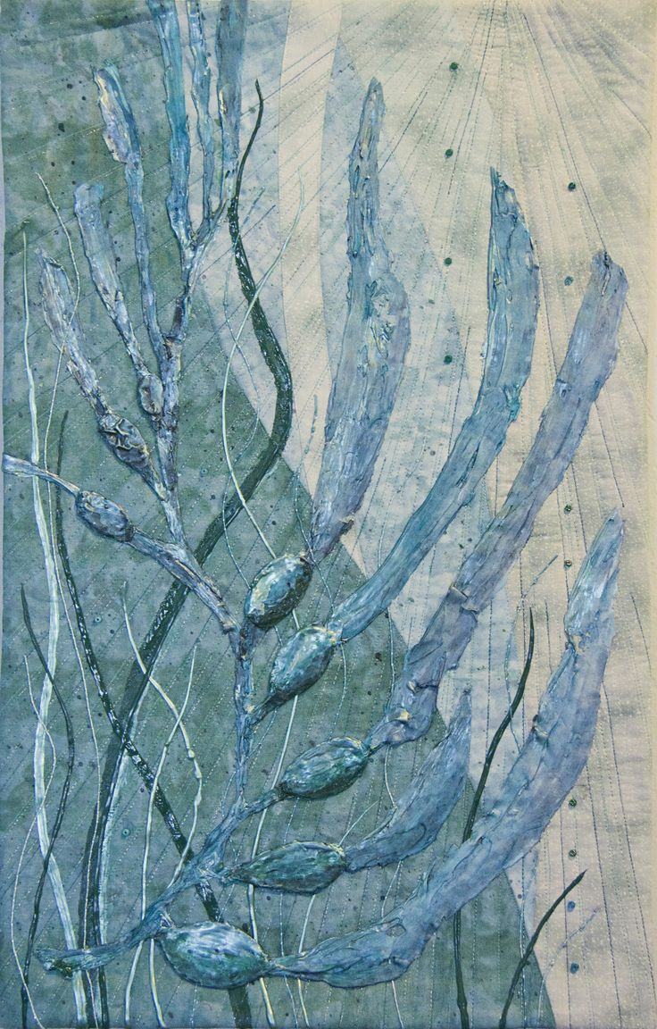 Monochromatic Quilt Challenge. The kelp is created by a 'secret' method and handpainted.