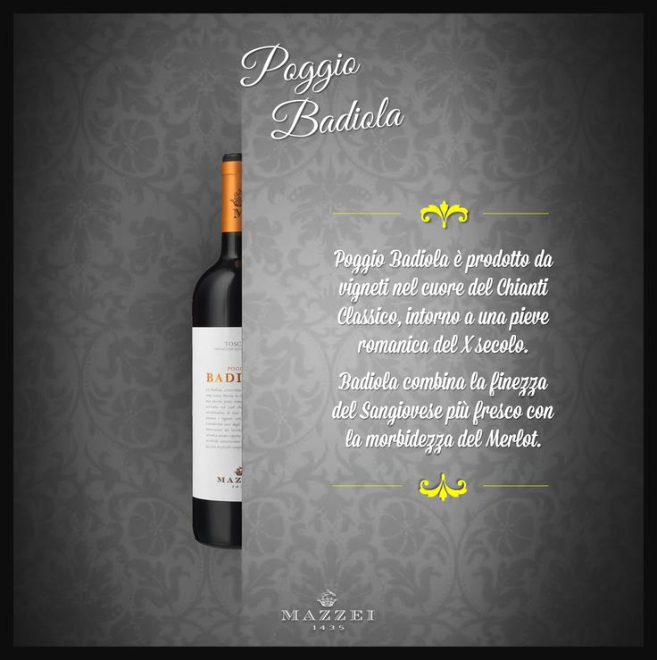POGGIO BADIOLA - This wine is made from high altitude vineyards in the heart of Chianti Classico, around a Romanesque church in the X century. Badiola combines the finesse of Sangiovese with the structure and the softness of Merlot. @marchesimazzei   #winegallery  #marchesimazzei #fonterutoli  #wine #tuscany #winelovers