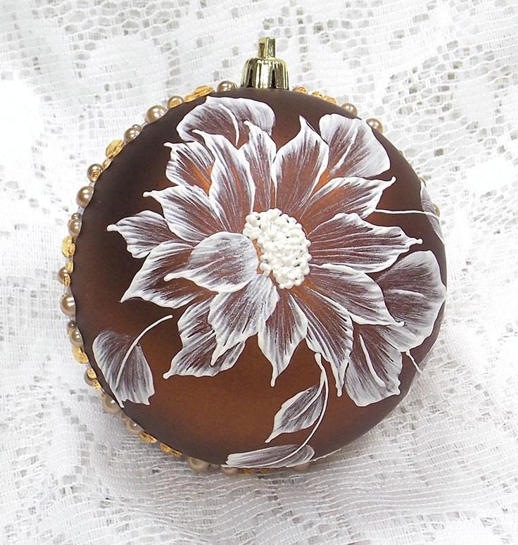Bronze Hand Painted White MUD Texture Sunflower Design with Bling (LG) 328 by MargotTheMUDLady on Etsy.  SOLD!