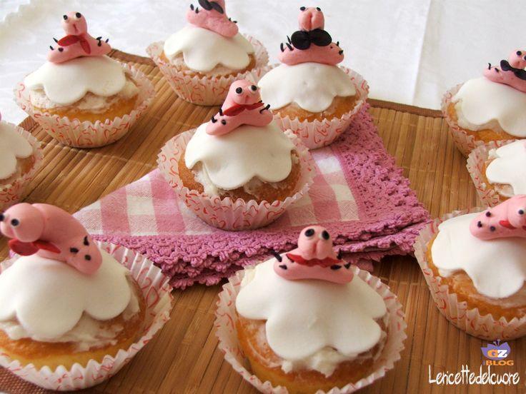 cupcake addio al nubilato, le ricette del cuore, addio al nubilato, ricetta, cupcake, pasta di zucchero, pdz, crema al burro, facile, dolci