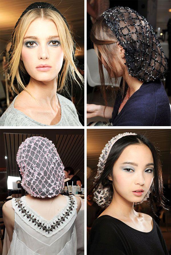 Chanel couture 2012 - 1940s hair nets Sure beats a chapel veil!!!