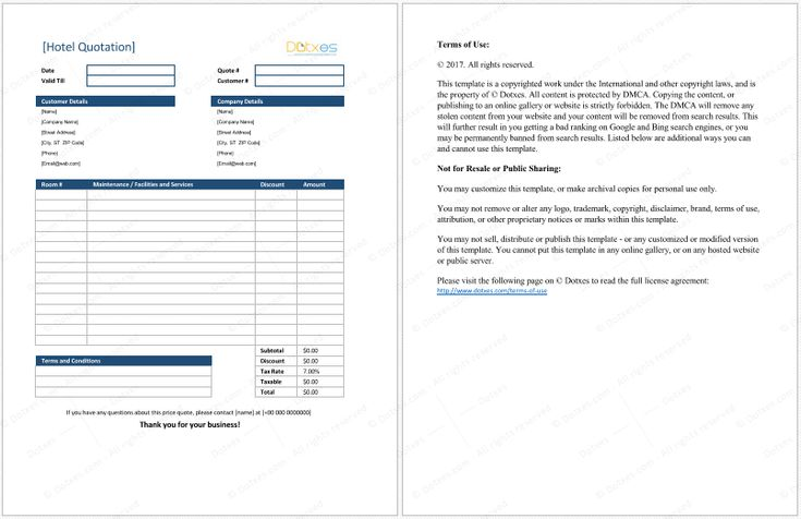 Hotel Quotation Format for Excel