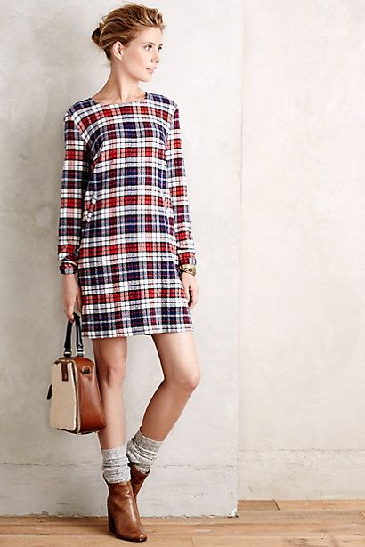 i am kind of obsessed with this plaid shift dress from anthropologie.