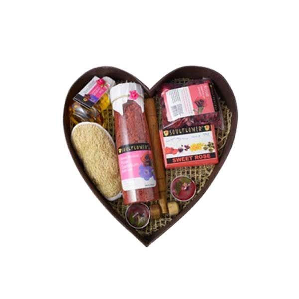 A complete Gift Set - This Body Nourishment Set contains Bath Salt, Massage Oil, Soap, Candle, Bath Scrub, Potpourri, Neck Roller. Follow: http://www.pleasingtimes.com/Gift-Sets/Heart-Bathset-With-Rose-Geranium