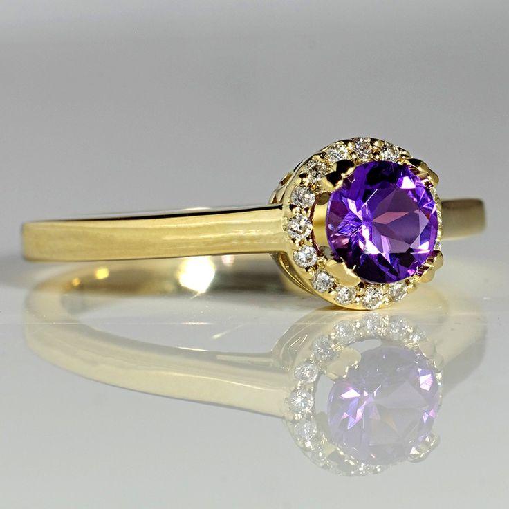Inel din aur, cu ametist si diamante II Cod produs: i030AmDi