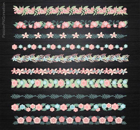 Floral border clipart Flower border clipart by PassionPNGcreation