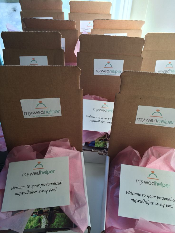 Our swag boxes filled with vendor samples and discounts are ready to be shipped to our couples!