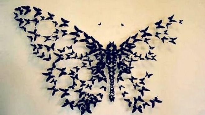 Siyah Kelebek Duvar Dekoru - Kağıt doku teknikleri, örnekleri ve ipuçlarını videolu anlatımı - siyah kelebek duvar dekoru