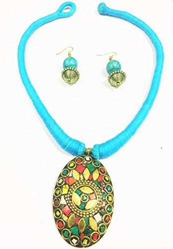 SSDG Blue Nepali Stone with multi Colour Pendant Chokar Neckless With Earing Set ** More info could be found at the image url. Note:It is Affiliate Link to Amazon.