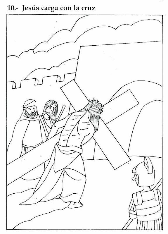 Pinto Dibujos: Jesus carga la cruz para colorear | escuelita ...