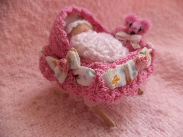 Miniature clay baby and crib by Teeny Tiny Babes Adorable OOAK hand made!