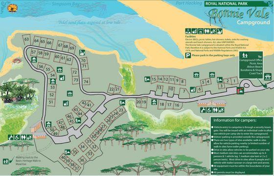 Bonnie Vale Campground Map