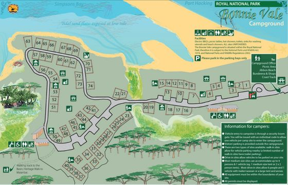 Bonnie Vale Campground Map