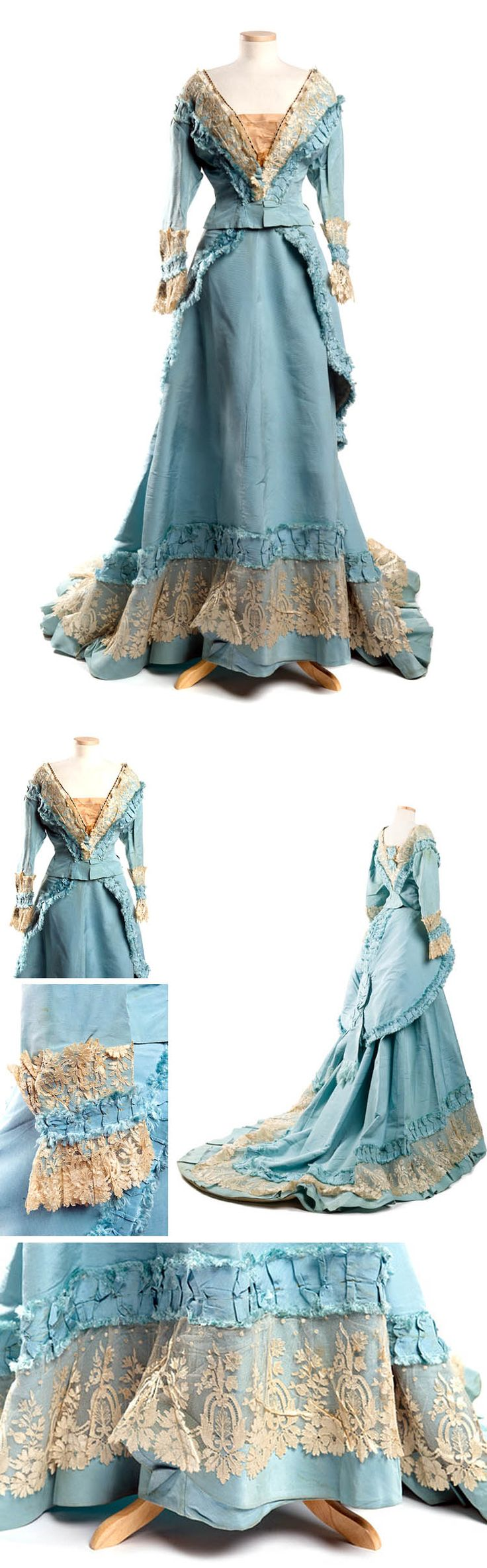 Evening or dinner dress, Mme. Gabrielle, Paris, ca. early 1870s. Mme. Gabrielle, while not as well-known now, was as respected in her day as Charles Worth and other top Parisian designers. Charleston Museum Tumblr