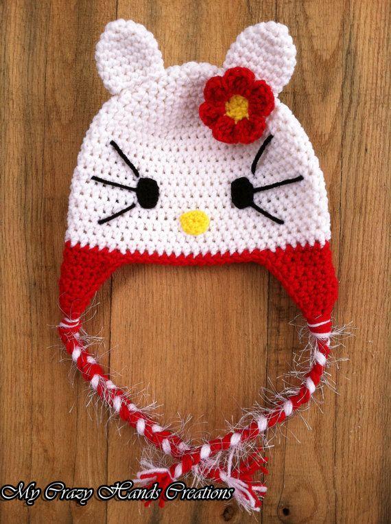 Crochet Kitty Hat kitty hat with pink by Mycrazyhandscreation, $20.00