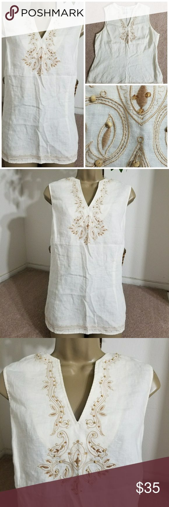 """🆕️Josephine Chaus Linen Blouse Brand: Josephine Chaus  Size: 16 100% Linen  Color: Natural Ivory Retail: $69  Brand new without tags. The only flaw is shown in the last picture. It was purchased this way. It can easily be fixed however it is hardly noticeable and does not affect wear. Price reflects this minor flaw.  Zips on the side  Measurements are approximate Length: 26.5"""" Chest: 42"""" Waist: 39"""" Zipper Length: 9.5"""" Josephine Chaus Tops Blouses"""