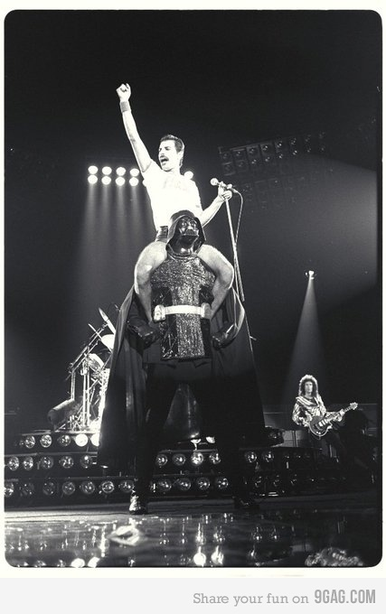 Freddie Mercury on Darth Vader's Shoulders #queen #black #white #rockstar #music #photography #rock #rocknroll #starwars