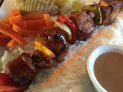 Les plats cuisinés de Esther B: Marinade à succès pour brochettes de poulet BBQ