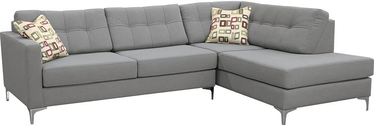 Ivy Polyester Right Facing Sectional With Sofa Bed Grey