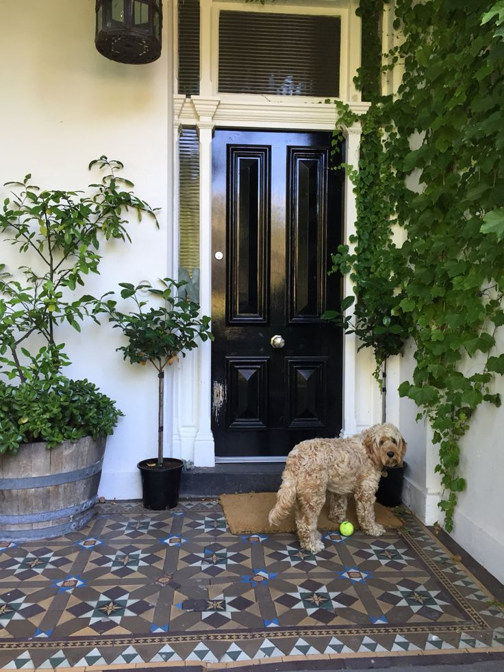Victorian Black front door - Nossal family home Melbourne