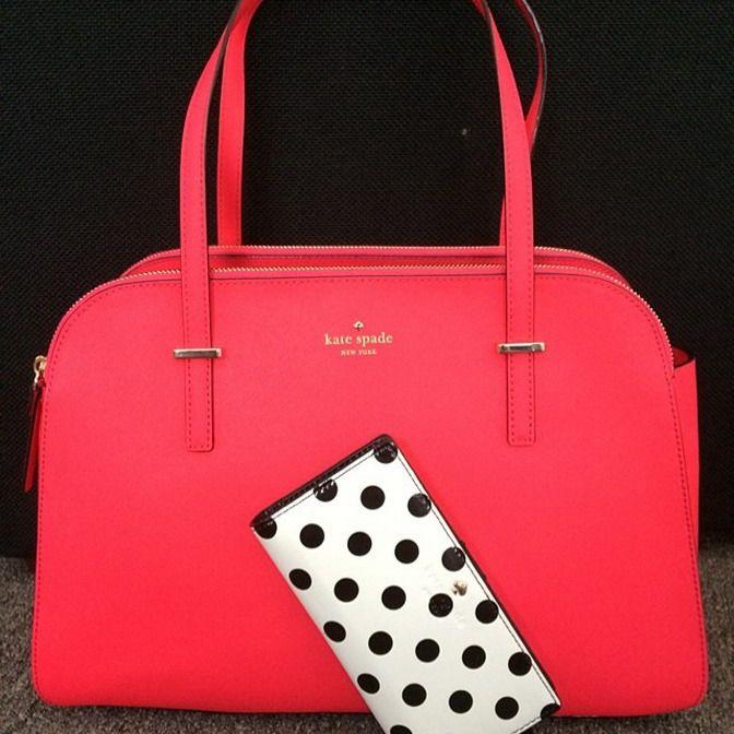 Kate Spade coral pink red bag and white with black polka dot wallet kate spade handbag