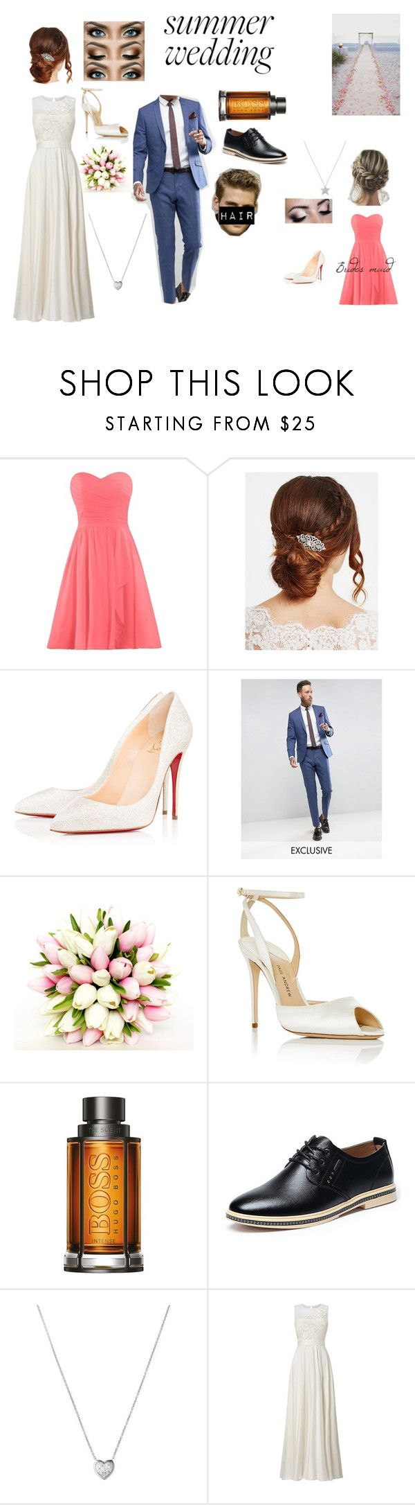 """""""Summer Wedding"""" by hailey-102706 ❤ liked on Polyvore featuring Jon Richard, Arbonne, Christian Louboutin, Jim Hjelm, Paul Andrew, BOSS Hugo Boss, Links of London and Phase Eight"""