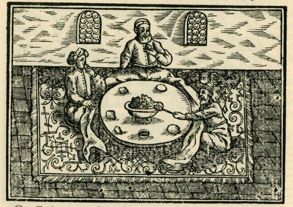 Dinner at a Turkish residence  ca. 1600  by Salomon Schweigger