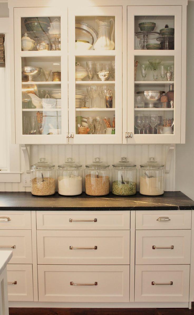 Farmhouse kitchen- Glass jars to organize dry goods.: China Cabinets, Glasses Cabinets, Glasses Jars,  China Closet, Glasses Doors, White Cabinets, Kitchens Cabinets, Cabinets Doors, White Kitchens