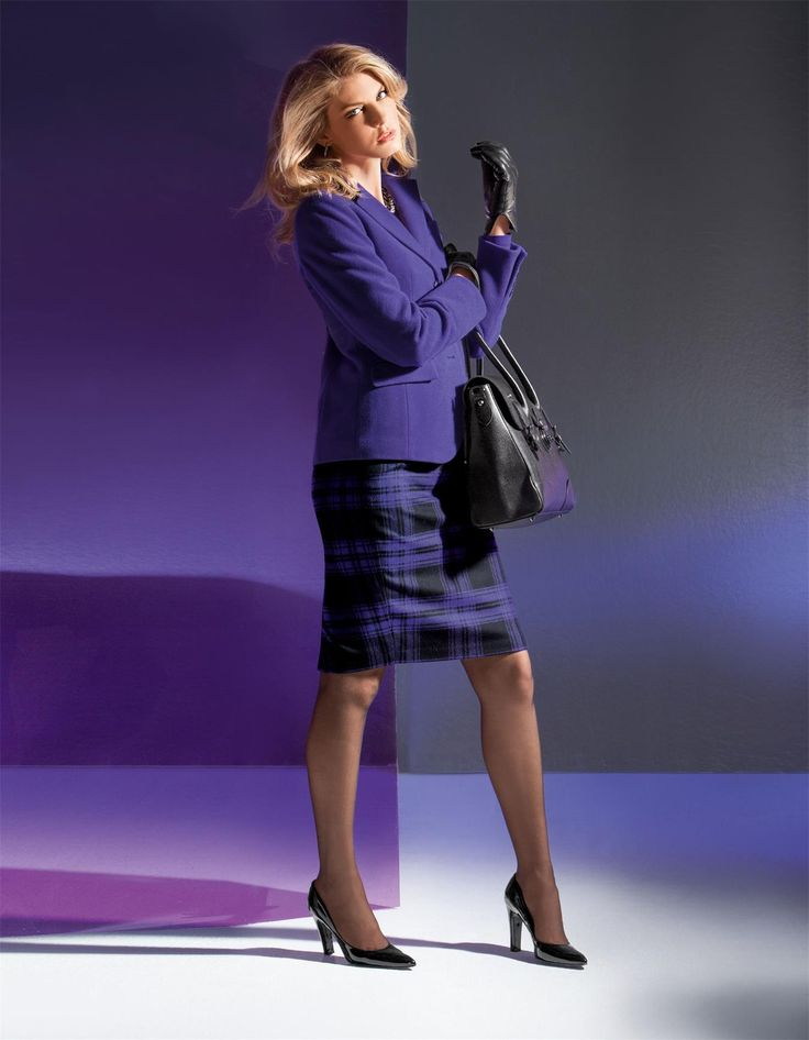 Bleistiftrock in Karo-Dessin in der Farbe violett - dunkellila, viola - lila - im MADELEINE Mode Onlineshop