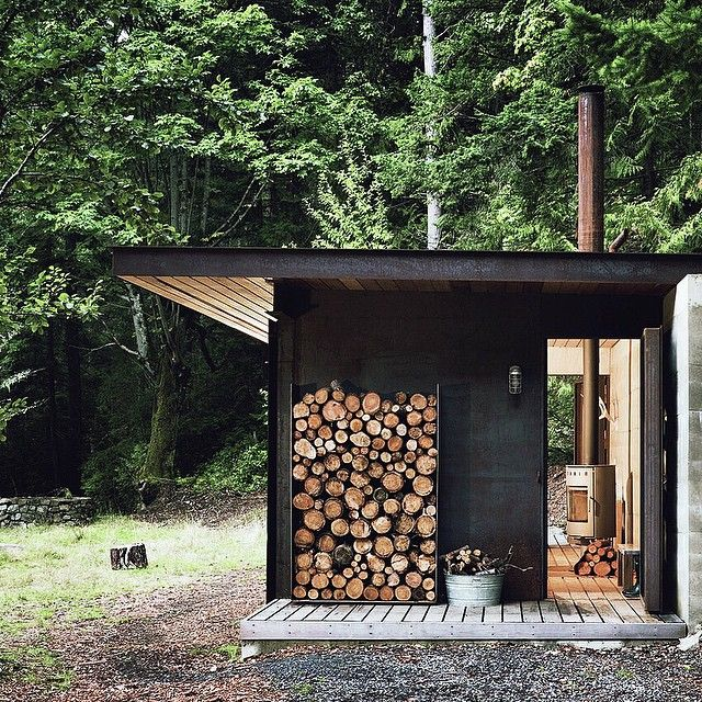 All you need in the woods. #getoutdoors #upknorth Tiny one room cabin nestled in the Gulf Islands, BC. Olson Kundig design shot by Tim Bies.